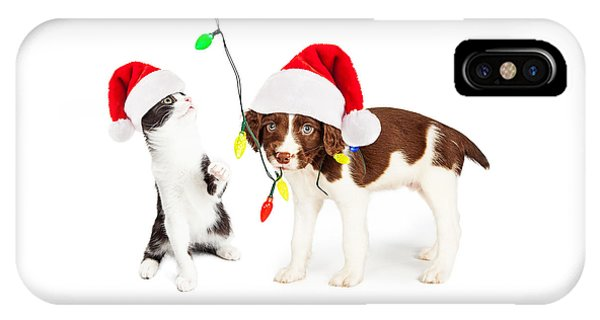 Playful Christmas Kitten And Puppy IPhone Case