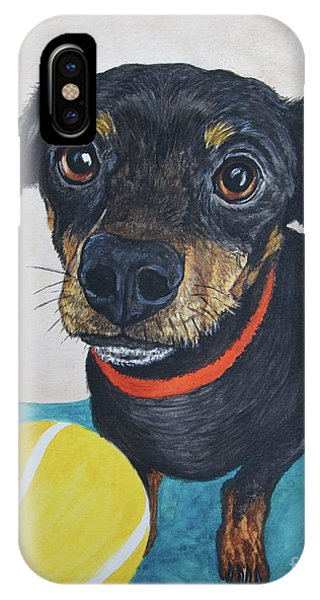 iPhone Case - Playful Dachshund by Megan Cohen