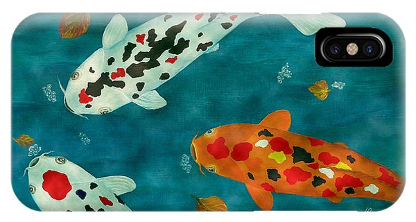 Playful Koi Fishes Original Acrylic Painting IPhone Case