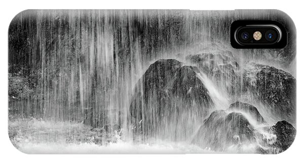 Plitvice Waterfall Black And White Closeup - Plitivice Lakes National Park, Croatia IPhone Case