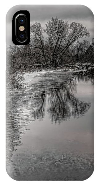 Plover River Black And White Winter Reflections IPhone Case