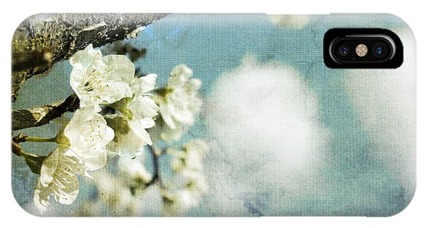 Plum Blossoms And Puffy Clouds IPhone Case