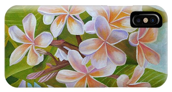 IPhone Case featuring the painting Plumeria by Angeles M Pomata