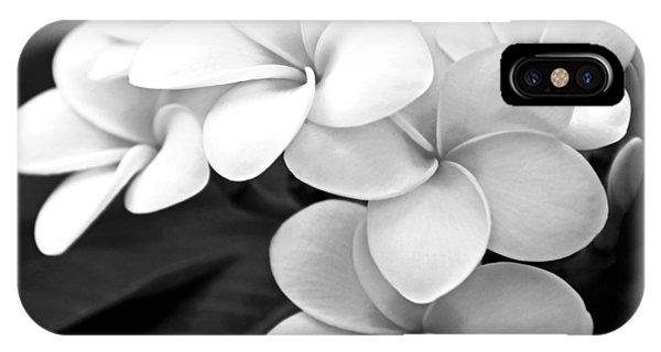 Hawaii iPhone Case - Plumeria - Black And White by Kerri Ligatich