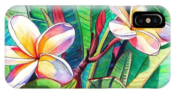 Rainbow iPhone Case - Plumeria Garden by Marionette Taboniar