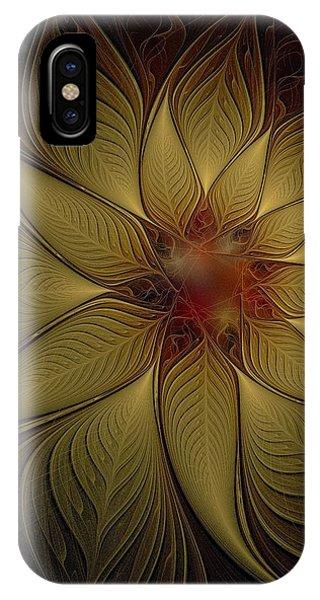 Poinsettia In Gold IPhone Case