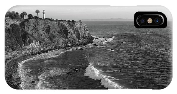 Point Vicente Lighthouse Palos Verdes California - Black And White IPhone Case