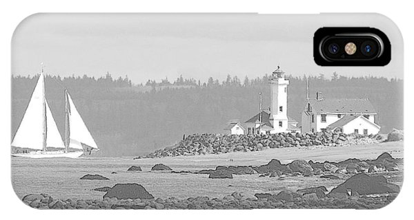 Point Wilson Lighthouse And Sailboat IPhone Case