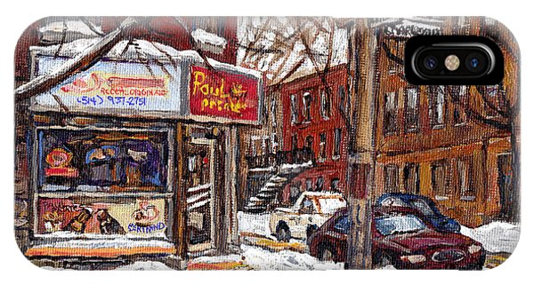 Pointe St Charles Montreal Winter Scene Painting Paul Patates Restaurant At Coleraine And Charlevoix IPhone Case