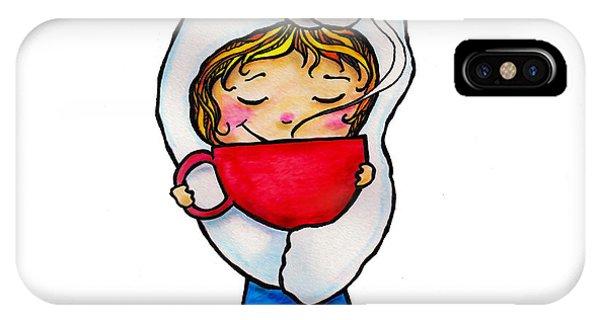 Winter Fun iPhone Case - Polar Bear Girl With Hot Cocoa by Laura Ostrowski