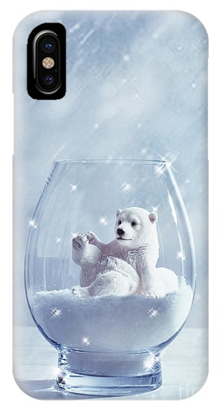 Christmas iPhone Case - Polar Bear In Snow Globe by Amanda Elwell