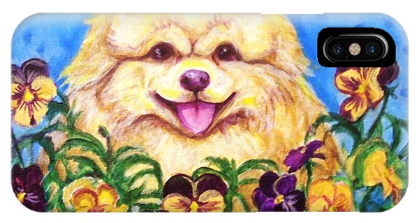 Pomeranian With Pansies IPhone Case