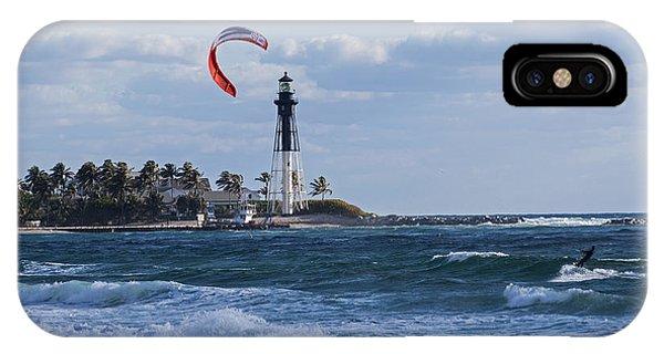 Pompano Beach Kiteboarder Hillsboro Lighthouse IPhone Case