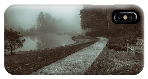 Park Bench iPhone Case - Pond Walk In Black And White by Tom Mc Nemar