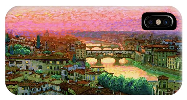 Impressionism iPhone X Case - Ponte Vecchio Sunset Florence by Jane Small