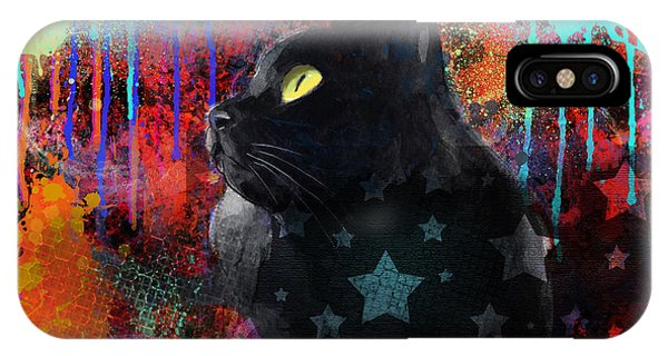 Pop Art Black Cat Painting Print IPhone Case
