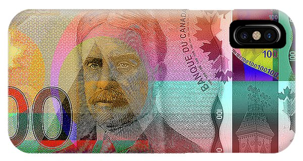 Pop-art Colorized New One Hundred Canadian Dollar Bill IPhone Case