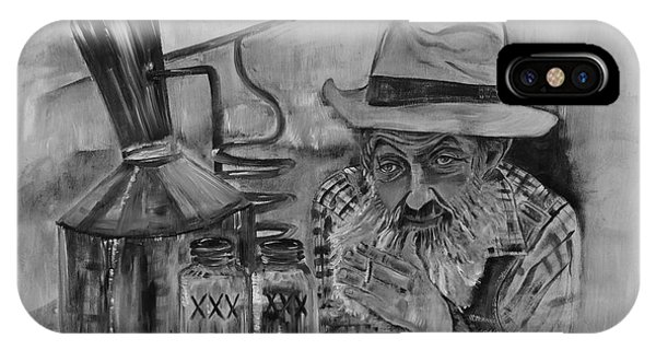 Popcorn Sutton - Black And White - Waiting On Shine IPhone Case