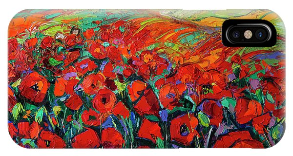 Poppies And Cypresses - Modern Impressionist Palette Knives Oil Painting IPhone Case