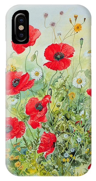 Garden iPhone X Case - Poppies And Mayweed by John Gubbins