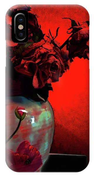 IPhone Case featuring the digital art Poppies And Roses by Teresa Epps