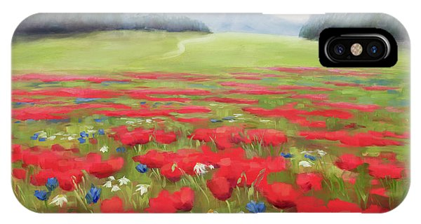 Wiese iPhone Case - Poppies And Thunderclouds by Karin Leonard