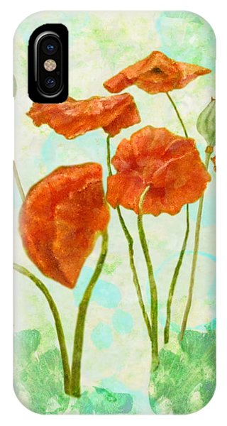 IPhone Case featuring the mixed media Poppies by Angeles M Pomata