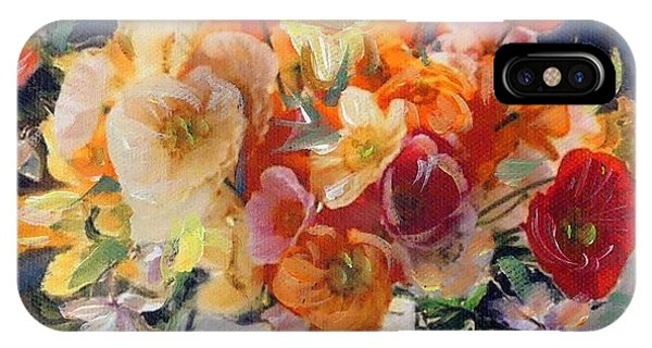 Poppies, Clematis, And Daffodils In Porcelain Vase. IPhone Case