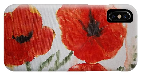 Poppies On Linen IPhone Case