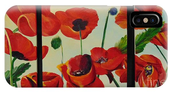 IPhone Case featuring the painting Poppies by Saundra Johnson