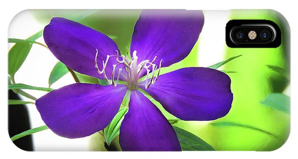 IPhone Case featuring the painting Poppin Purple Flower by Penny Lisowski