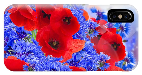 Poppy And Cornflower Flowers IPhone Case
