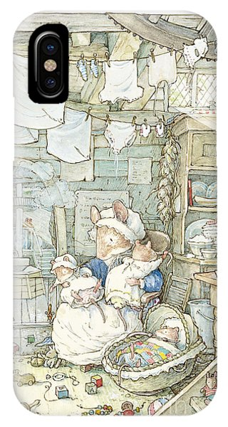 Coloured Pencil iPhone Case - Poppy And Her Babies Sit By The Fire by Brambly Hedge
