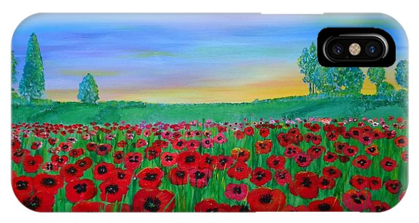 Poppy Field At Sunset IPhone Case