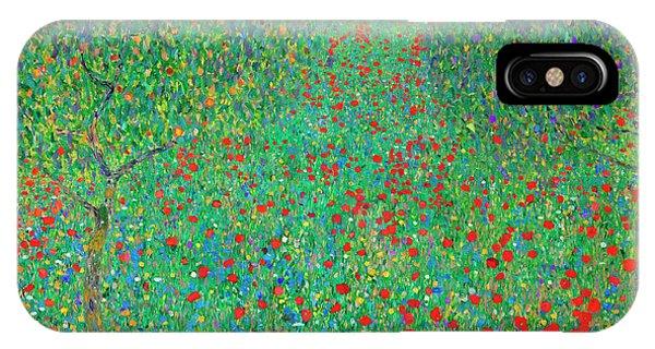 Greenery iPhone Case - Poppy Field by Gustav Klimt