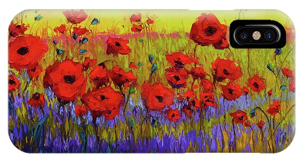 Poppy Flower Field Oil Painting With Palette Knife IPhone Case