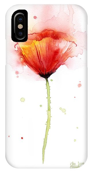 Poppies iPhone Case - Poppy Watercolor Red Abstract Flower by Olga Shvartsur