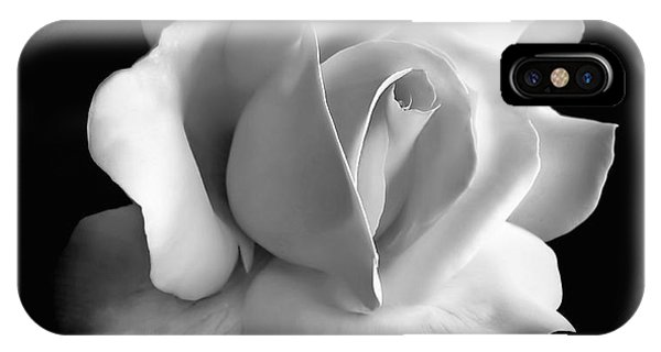 Black And White iPhone X Case - Porcelain Rose Flower Black And White by Jennie Marie Schell