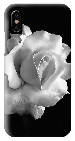 White iPhone Case - Porcelain Rose Flower Black And White by Jennie Marie Schell