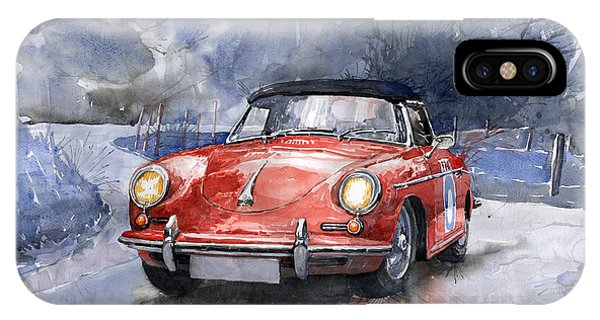 Red iPhone X Case - Porsche 356 B Roadster by Yuriy Shevchuk