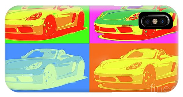Style iPhone Case - Porsche 718 Boxster S, Warhol Style, Office Decor by Drawspots Illustrations