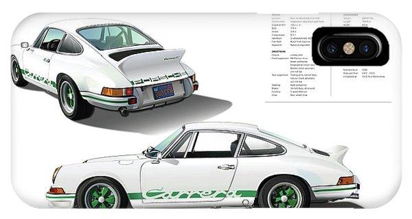 Digital Image iPhone Case - Porsche 911 Carrera Rs Illustration by Alain Jamar