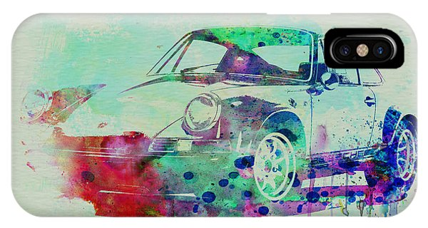 Car iPhone X Case - Porsche 911 Watercolor 2 by Naxart Studio