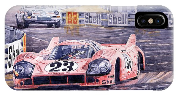 Pig iPhone Case - Porsche 917-20 Pink Pig Le Mans 1971 Joest Reinhold by Yuriy Shevchuk