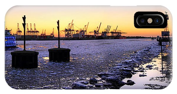 Port Of Hamburg Winter Sunset IPhone Case