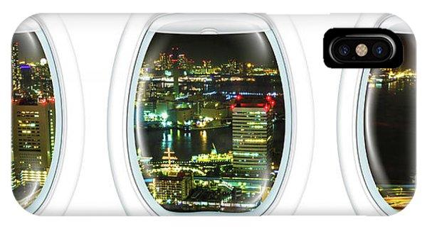 Odaiba iPhone Case - Porthole Frame On Tokyo Bay Area by Benny Marty