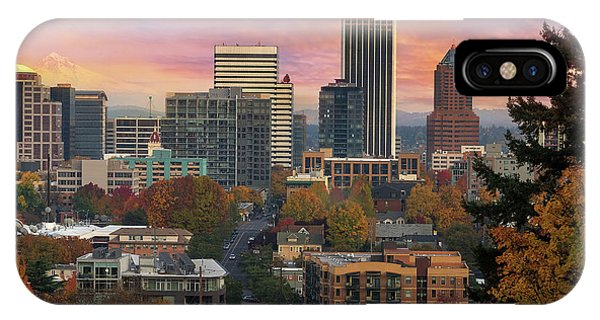iPhone Case - Portland Downtown Cityscape During Sunrise In Fall by David Gn