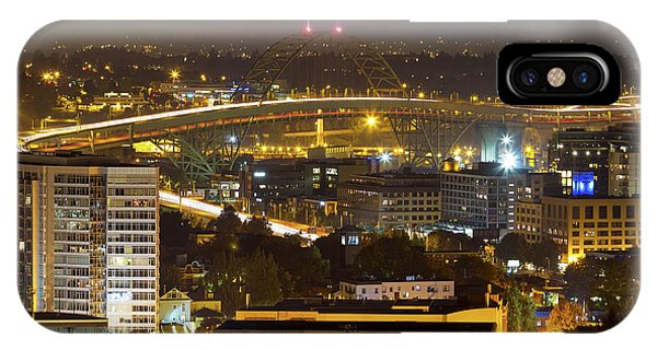 iPhone Case - Portland Fremont Bridge Light Trails At Night by David Gn
