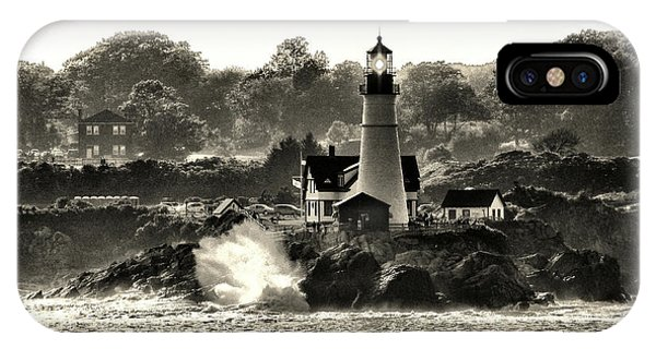 Portland Head Light At Cape Elizabeth In Black And White IPhone Case