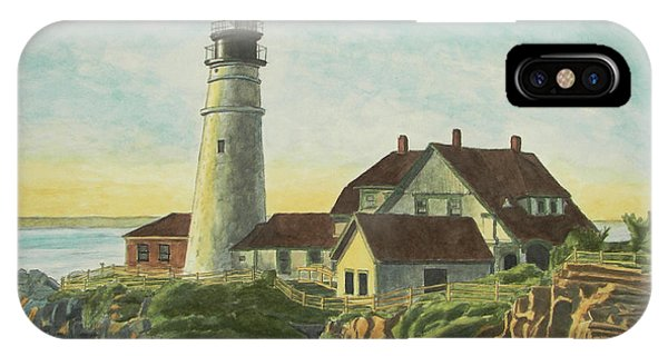 IPhone Case featuring the painting Portland Head Light At Sunrise by Dominic White